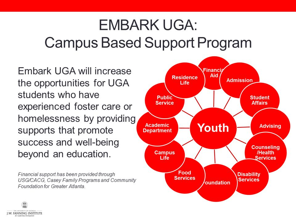EMBARK UGA: Campus Based Support Program Embark UGA will increase the opportunities for UGA students who have experienced foster care or homelessness by providing supports that promote success and well-being beyond an education.