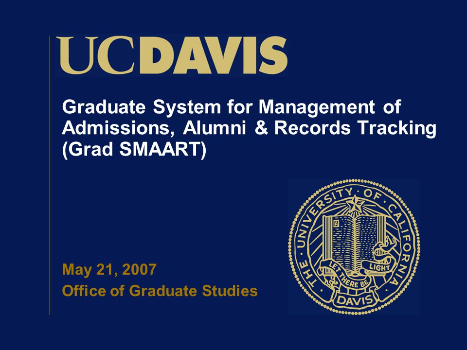 Graduate System for Management of Admissions, Alumni & Records Tracking (Grad SMAART) May 21, 2007 Office of Graduate Studies