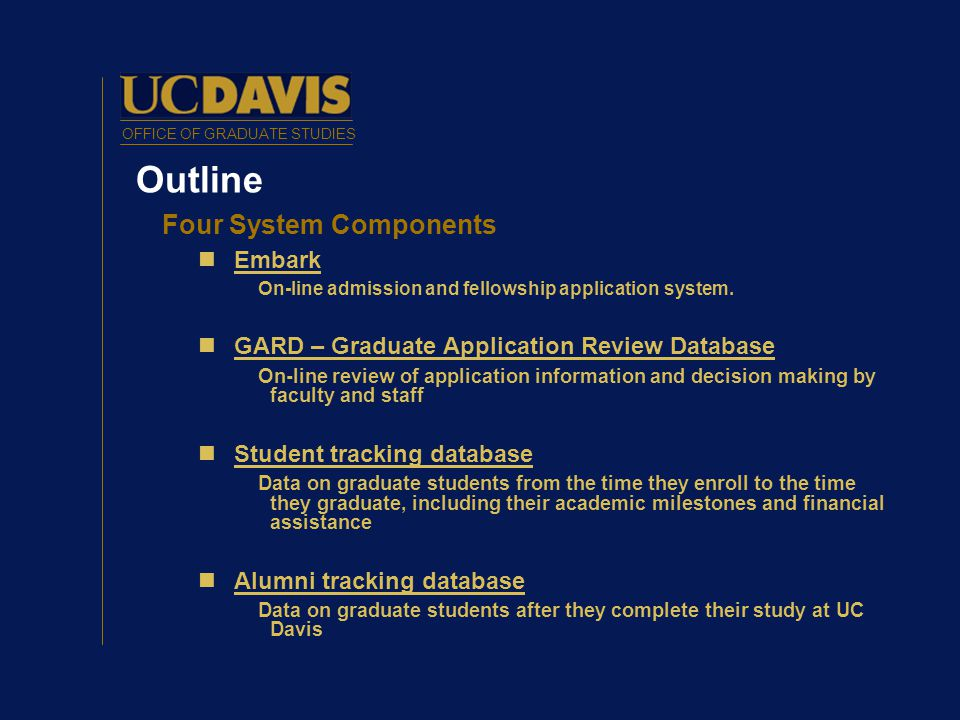 OFFICE OF GRADUATE STUDIES Outline Four System Components Embark On-line admission and fellowship application system.