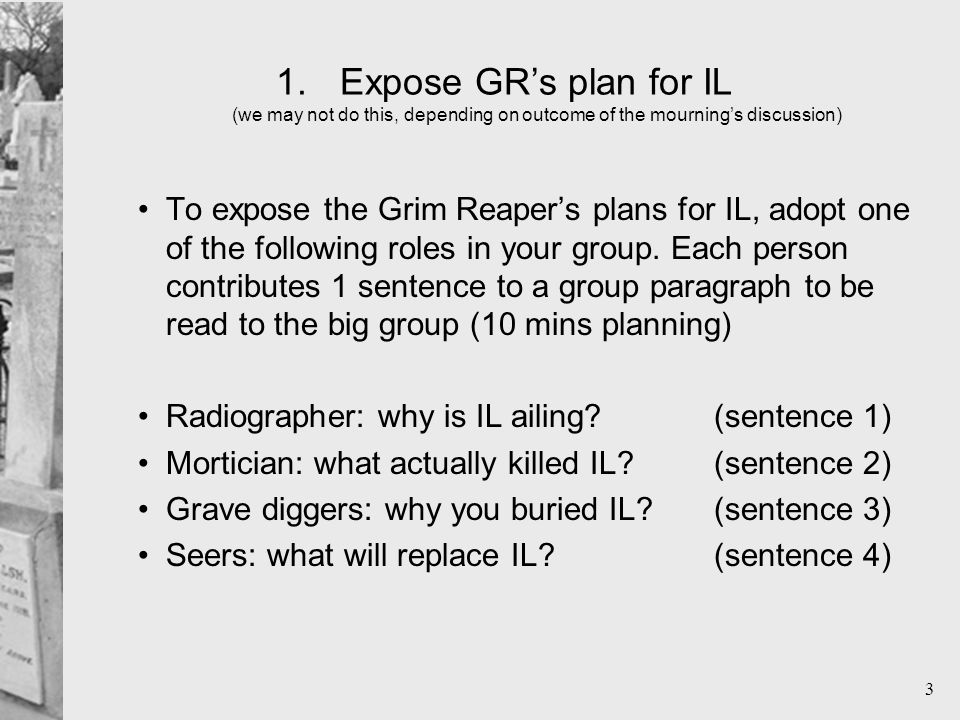 3 1.Expose GR's plan for IL (we may not do this, depending on outcome of the mourning's discussion) To expose the Grim Reaper's plans for IL, adopt one of the following roles in your group.