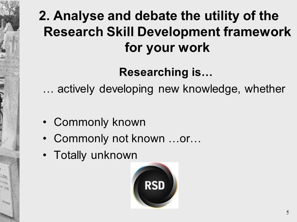 5 Researching is… … actively developing new knowledge, whether Commonly known Commonly not known …or… Totally unknown
