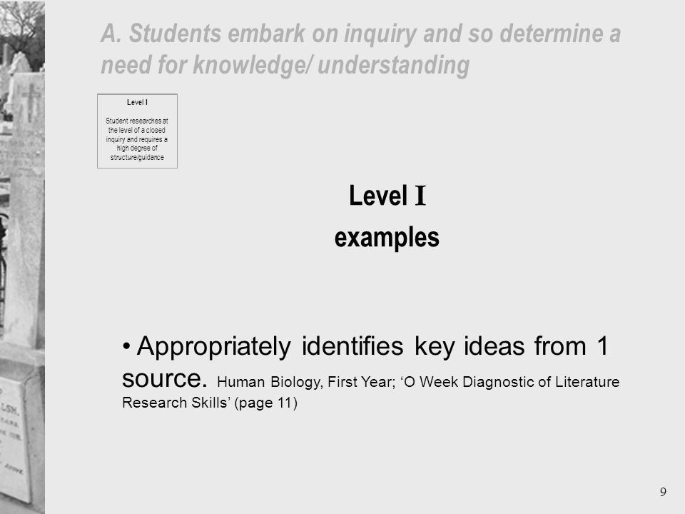 9 A. Students embark on inquiry and so determine a need for knowledge/ understanding Appropriately identifies key ideas from 1 source. Human Biology,