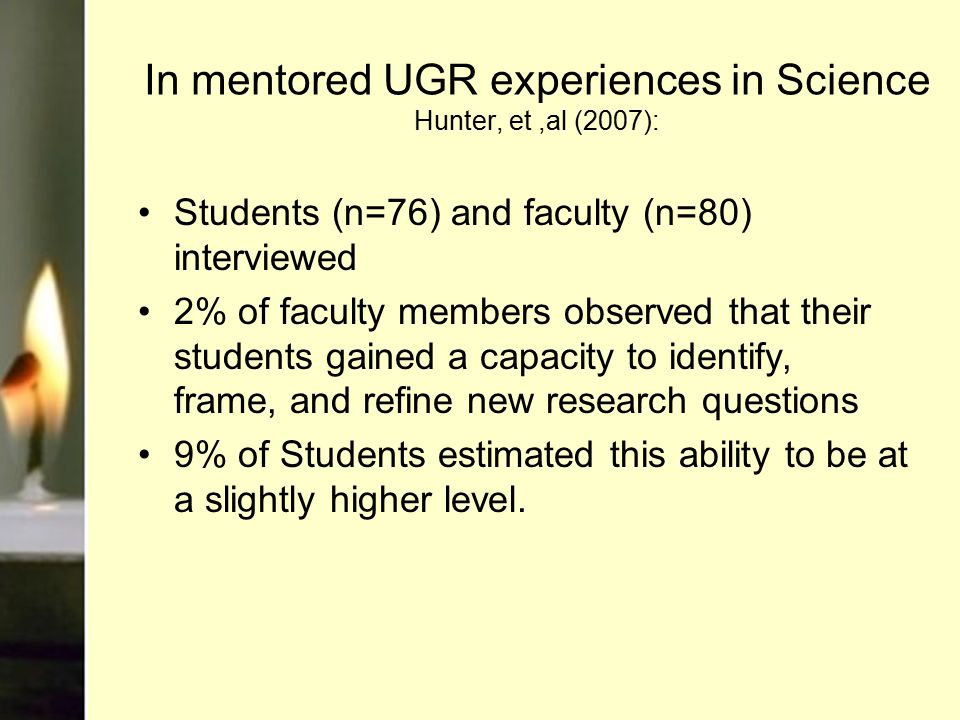 In mentored UGR experiences in Science Hunter, et,al (2007): Students (n=76) and faculty (n=80) interviewed 2% of faculty members observed that their students gained a capacity to identify, frame, and refine new research questions 9% of Students estimated this ability to be at a slightly higher level.