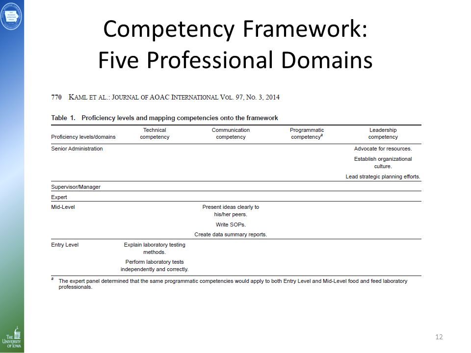 Competency Framework: Five Professional Domains 12