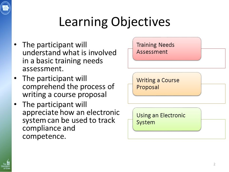 Learning Objectives The participant will understand what is involved in a basic training needs assessment. The participant will comprehend the process
