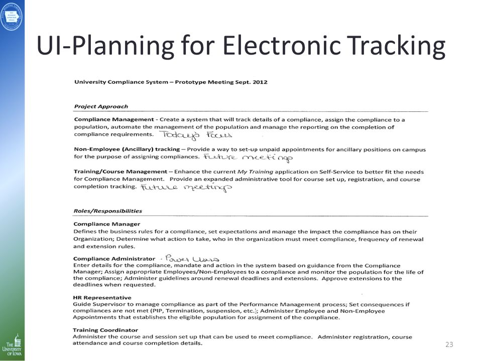 UI-Planning for Electronic Tracking 23