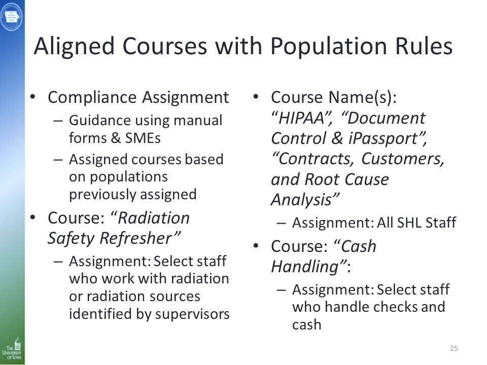 Aligned Courses with Population Rules Compliance Assignment – Guidance using manual forms & SMEs – Assigned courses based on populations previously as