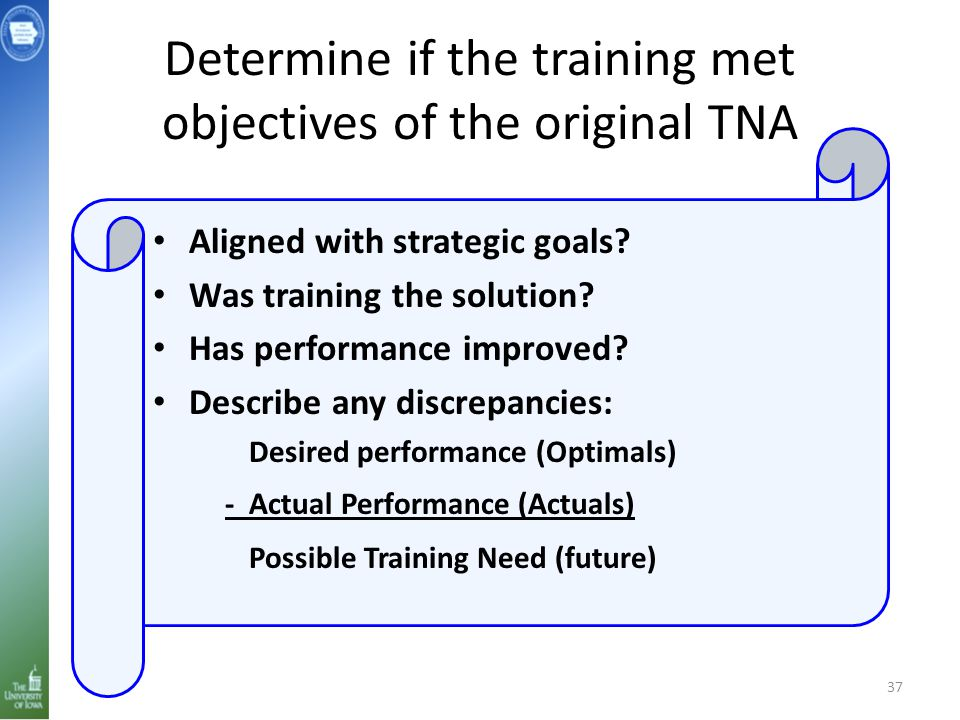 Determine if the training met objectives of the original TNA 37 Aligned with strategic goals.