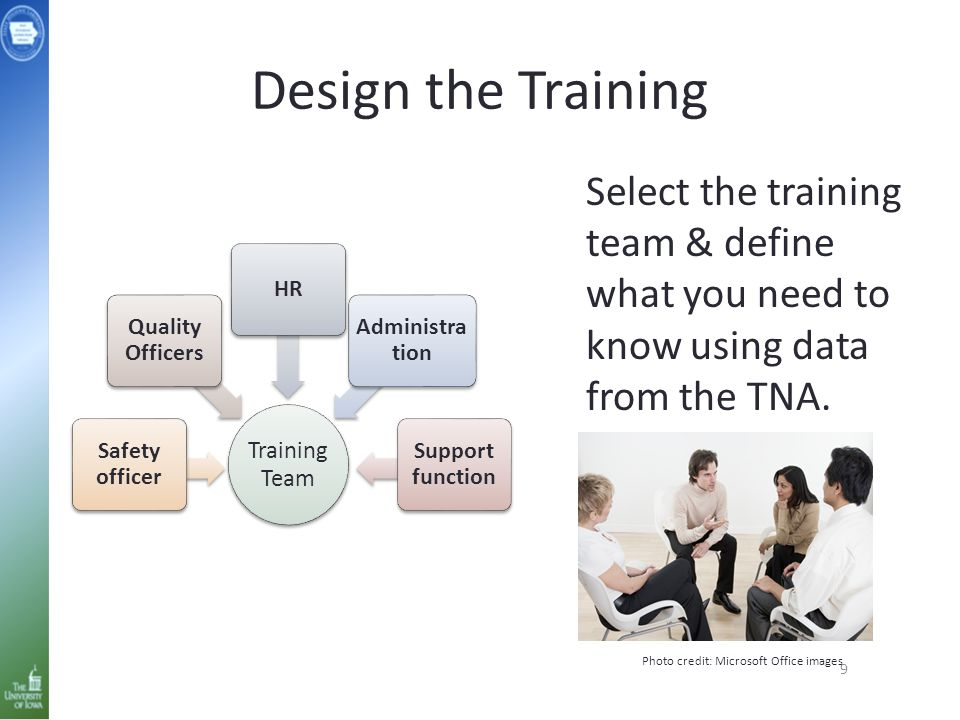 Design the Training 9 Training Team Safety officer Quality Officers HR Administra tion Support function Select the training team & define what you nee