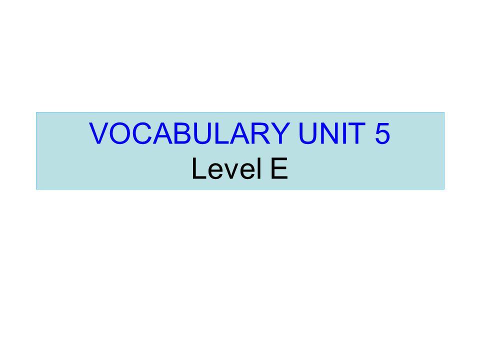 VOCABULARY UNIT 5 Level E