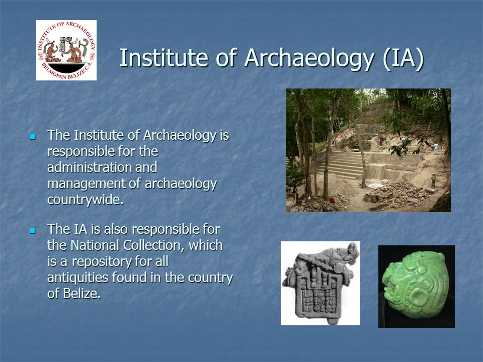 Institute of Archaeology (IA) Institute of Archaeology (IA) The Institute of Archaeology is responsible for the administration and management of archaeology countrywide.