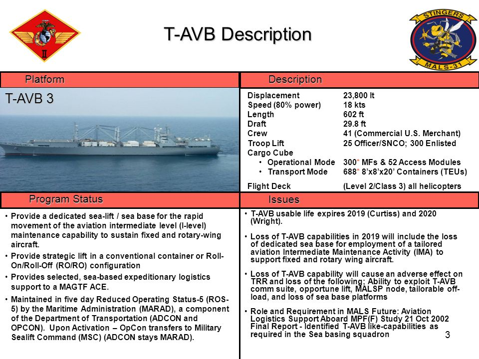 4 Objectives  PURPOSE OF EVENT: Validate AVLOG and maintenance support to a strategically agile, scalable and tactically flexible MAGTF Operational Maneuvers From the Sea (OMFTS) Ship-to-Objective Maneuver (STOM) Other Expeditionary Operations (OEO) Distributed Operations (DO)  Produce cadre of Marines trained in full spectrum of T-AVB load operations  Coordinated Flight Ops Flight deck crew certification MV-22 flight deck qualification coordination  Maintain proficiency in deploying/employing and operating aboard the T-AVB ships  Exercise all shipboard upgrades  Exercise full Satellite Communication operations  MARLOGs (Air) Identify Logistical choke points  Exercise shipboard loading software (TALPS)  Movement of Mobile Facilities and ancillary equipment to the SPOE/D  Develop and exercise of (AT/FP) Protection plan  Exercise MEDEVAC Plan