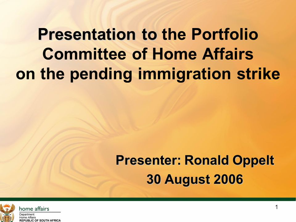 1 Presentation to Presentation to the Portfolio Committee of Home Affairs on the pending immigration strike Presenter: Ronald Oppelt 30 August 2006