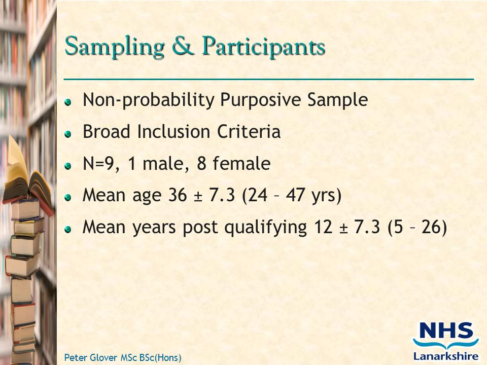 Peter Glover MSc BSc(Hons) Sampling & Participants Non-probability Purposive Sample Broad Inclusion Criteria N=9, 1 male, 8 female Mean age 36 ± 7.3 (24 – 47 yrs) Mean years post qualifying 12 ± 7.3 (5 – 26)