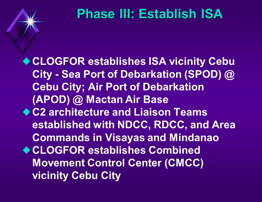 Phase III: Establish ISA uCLOGFOR establishes ISA vicinity Cebu City - Sea Port of Debarkation (SPOD) @ Cebu City; Air Port of Debarkation (APOD) @ Mactan Air Base uC2 architecture and Liaison Teams established with NDCC, RDCC, and Area Commands in Visayas and Mindanao uCLOGFOR establishes Combined Movement Control Center (CMCC) vicinity Cebu City