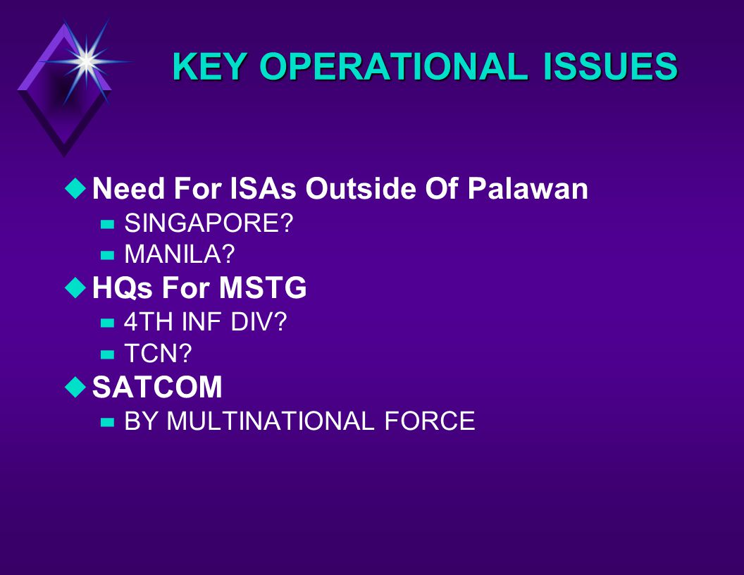 KEY OPERATIONAL ISSUES uNeed For ISAs Outside Of Palawan –SINGAPORE.