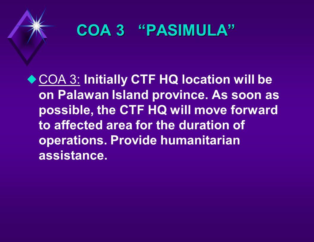 COA 3 PASIMULA uCOA 3: Initially CTF HQ location will be on Palawan Island province.
