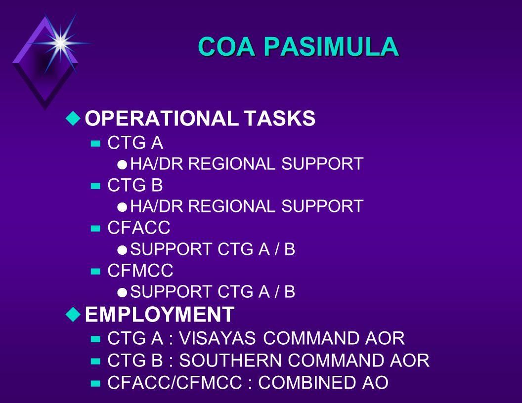 uOPERATIONAL TASKS –CTG A l HA/DR REGIONAL SUPPORT –CTG B l HA/DR REGIONAL SUPPORT –CFACC l SUPPORT CTG A / B –CFMCC l SUPPORT CTG A / B uEMPLOYMENT –CTG A : VISAYAS COMMAND AOR –CTG B : SOUTHERN COMMAND AOR –CFACC/CFMCC : COMBINED AO COA PASIMULA