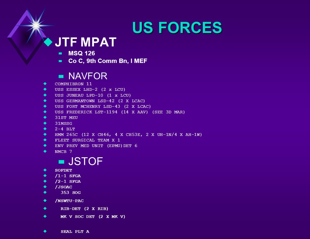 US FORCES uJTF MPAT –MSQ 126 –Co C, 9th Comm Bn, I MEF –NAVFOR uCOMPHIBRON 11 uUSS ESSEX LHD-2 (2 x LCU) uUSS JUNEAU LPD-10 (1 x LCU) uUSS GERMANTOWN LSD-42 (2 X LCAC) uUSS FORT MCHENRY LSD-43 (2 X LCAC) uUSS FREDERICK LST-1194 (14 X AAV) (SEE 3D MAR) u31ST MEU u31MSSG u2-4 BLT uHMM 265C (12 X CH46, 4 X CH53E, 2 X UH-1N/4 X AH-1W) uFLEET SURGICAL TEAM X 1 uENV PREV MED UNIT (EPMU)DET 6  NMCB 7 –JSTOF uSOFDET u/1-1 SFGA u/2-1 SFGA u/JSOAC u 353 SOG u/NSWTU-PAC u RIB-DET (2 X RIB) u MK V SOC DET (2 X MK V) u SEAL PLT A