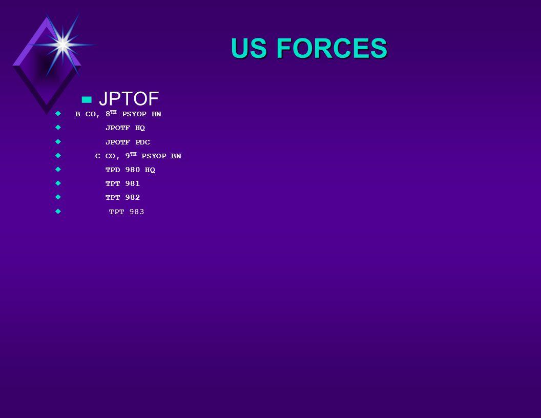 US FORCES –JPTOF uB CO, 8 TH PSYOP BN u JPOTF HQ u JPOTF PDC u C CO, 9 TH PSYOP BN u TPD 980 HQ u TPT 981 u TPT 982 uTPT 983