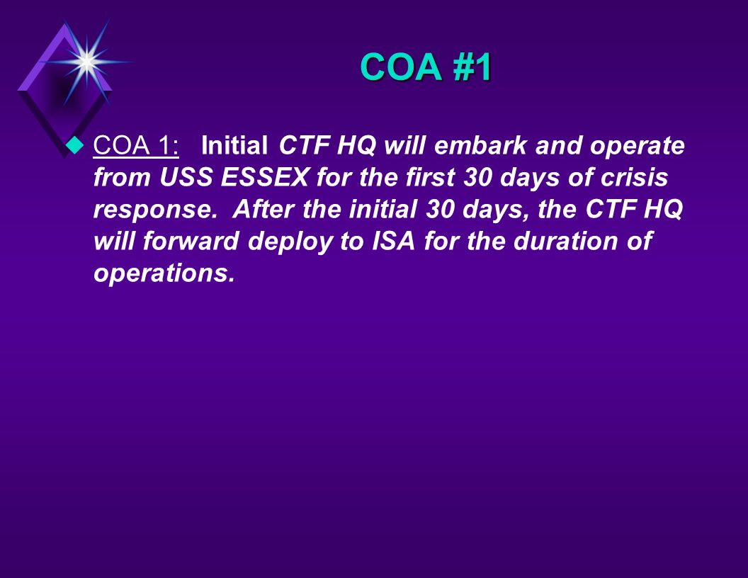 uPHASE 1 (PREPARE TO DEPLOY) –STANDUP CTF HQ –DEPLOY ADVANCE ECHELON –DEPLOY ASSESSMENT TEAM –INITIATE TRANSITION PLANNING COA PASIMULA CONCEPT OF OPERATIONS