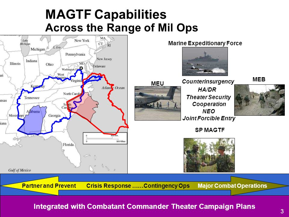 Mid-Intensity Conflict HA/DR Joint Forcible Entry Counterinsurgency Theater Security Cooperation Marine Expeditionary Force NEO SP MAGTF Integrated with Combatant Commander Theater Campaign Plans MAGTF Capabilities Across the Range of Mil Ops 3 Crisis Response ……Contingency OpsMajor Combat OperationsPartner and Prevent MEB MEU