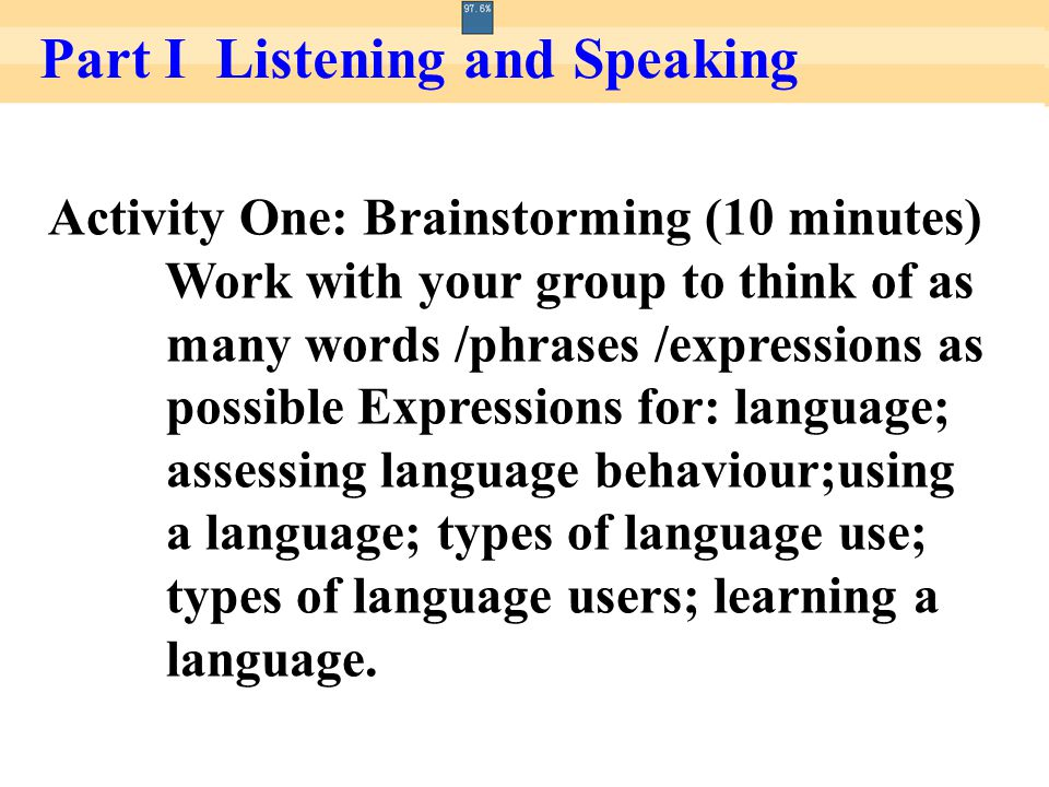 Activity One: Brainstorming (10 minutes) Work with your group to think of as many words /phrases /expressions as possible Expressions for: language; a