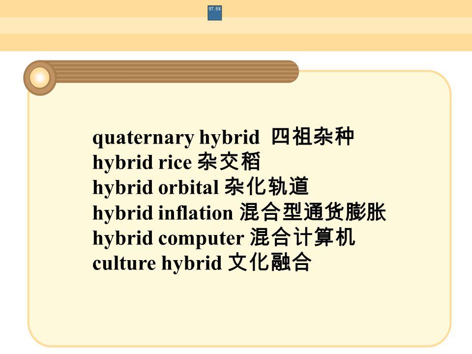 quaternary hybrid 四祖杂种 hybrid rice 杂交稻 hybrid orbital 杂化轨道 hybrid inflation 混合型通货膨胀 hybrid computer 混合计算机 culture hybrid 文化融合