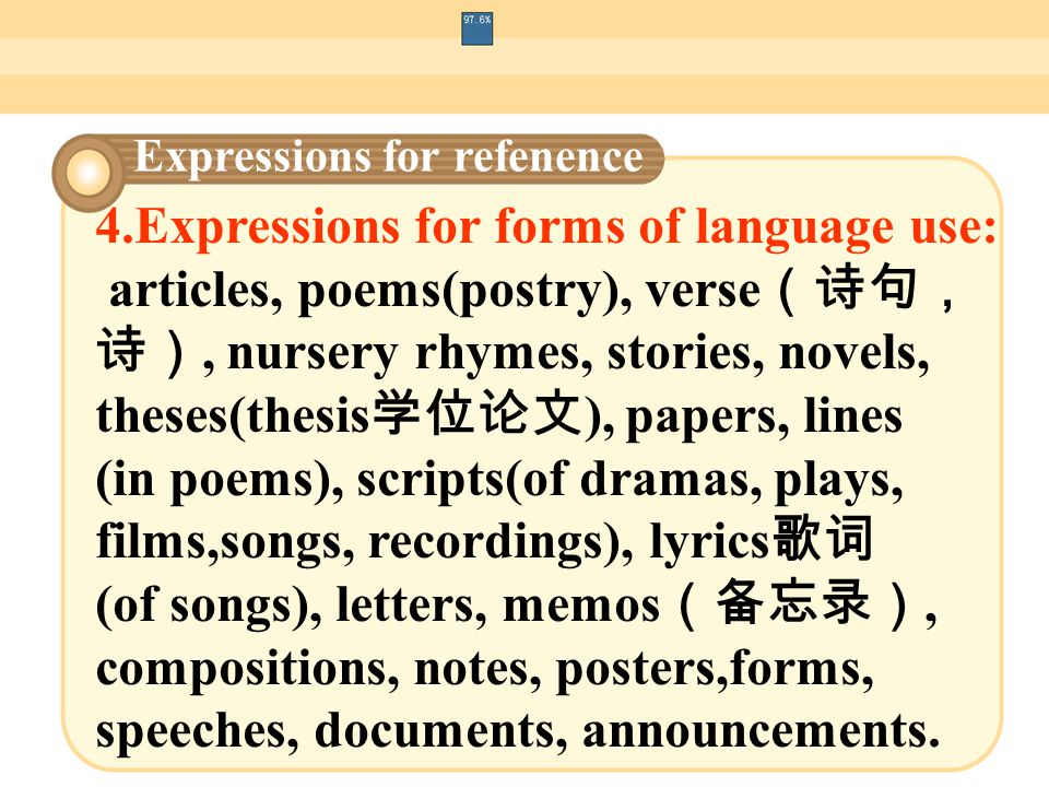 5.Expressions for types of language users: speaker, listener(audience), writer, author, poet, reader, translator, interpreter, pen-friend, scriptwriter (广播、电视节目撰稿人, 电影剧本作者), playwriter (剧作家) copywiter (广告撰稿人), repoter, radio\Tvannouncer, journalist Expressions for refenence