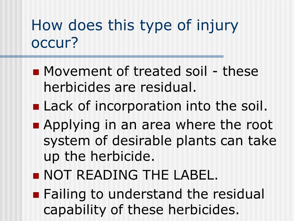 How does this type of injury occur. Movement of treated soil - these herbicides are residual.