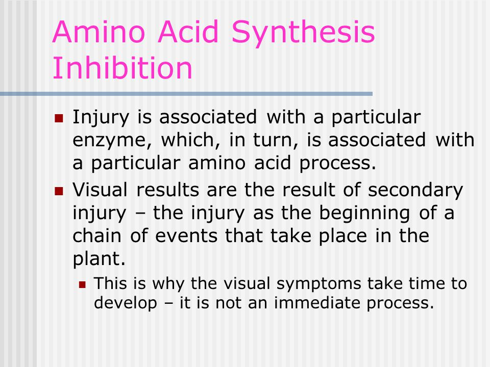 Amino Acid Synthesis Inhibition Injury is associated with a particular enzyme, which, in turn, is associated with a particular amino acid process.