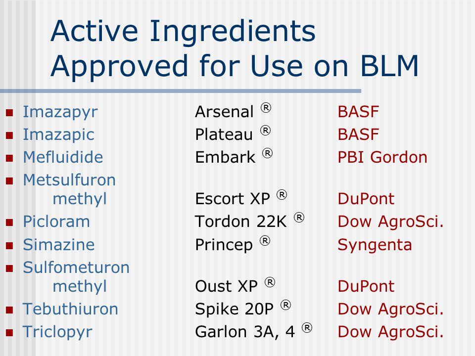 Active Ingredients Approved for Use on BLM ImazapyrArsenal ® BASF ImazapicPlateau ® BASF MefluidideEmbark ® PBI Gordon Metsulfuron methylEscort XP ® DuPont PicloramTordon 22K ® Dow AgroSci.