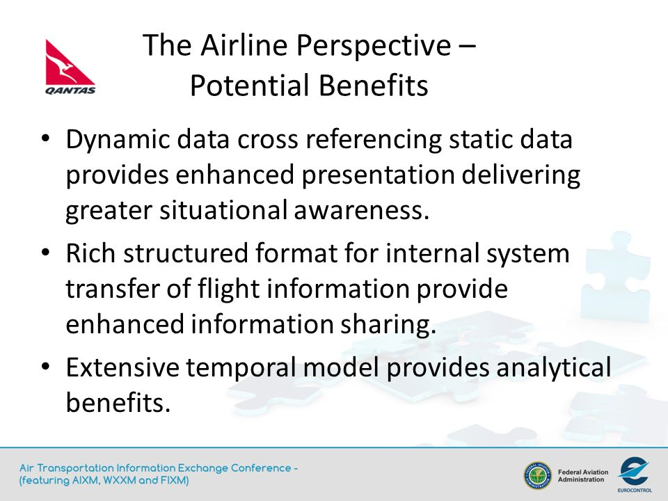 The Airline Perspective – Potential Benefits Dynamic data cross referencing static data provides enhanced presentation delivering greater situational awareness.