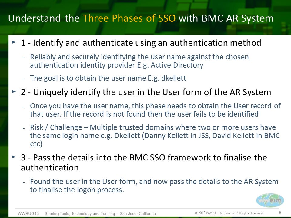 © 2013 WWRUG Canada Inc. All Rights Reserved 9 Understand the Three Phases of SSO with BMC AR System 1 - Identify and authenticate using an authentica