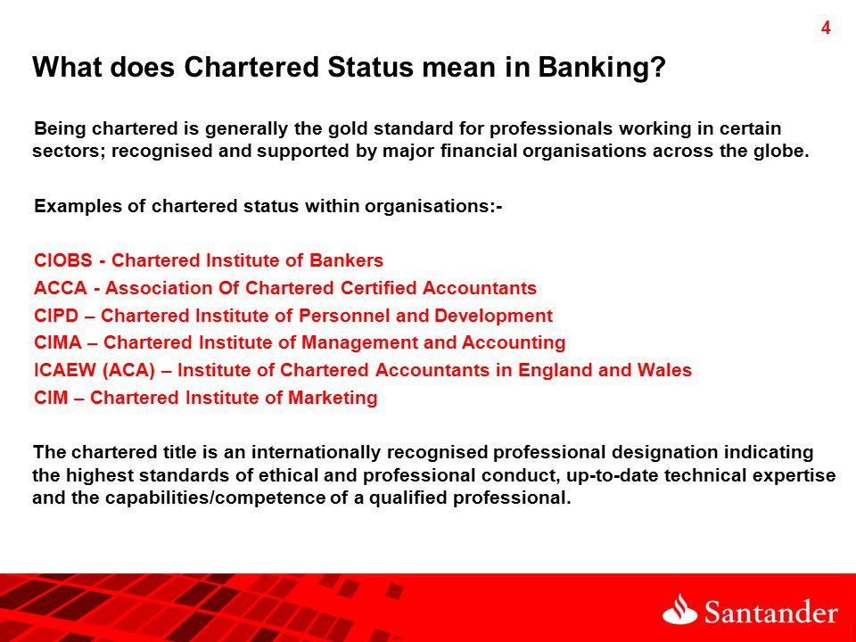 4 What does Chartered Status mean in Banking.