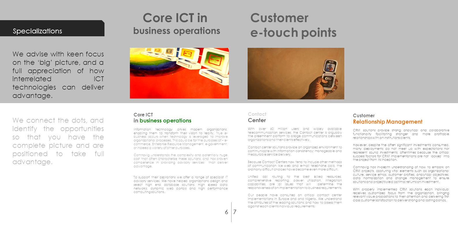 Core ICT in business operations Information technology drives modern organizations, enabling them to transform their vision to reality. True e- busine