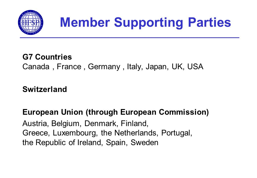 Member Supporting Parties G7 Countries Canada, France, Germany, Italy, Japan, UK, USA Switzerland European Union (through European Commission) Austria, Belgium, Denmark, Finland, Greece, Luxembourg, the Netherlands, Portugal, the Republic of Ireland, Spain, Sweden