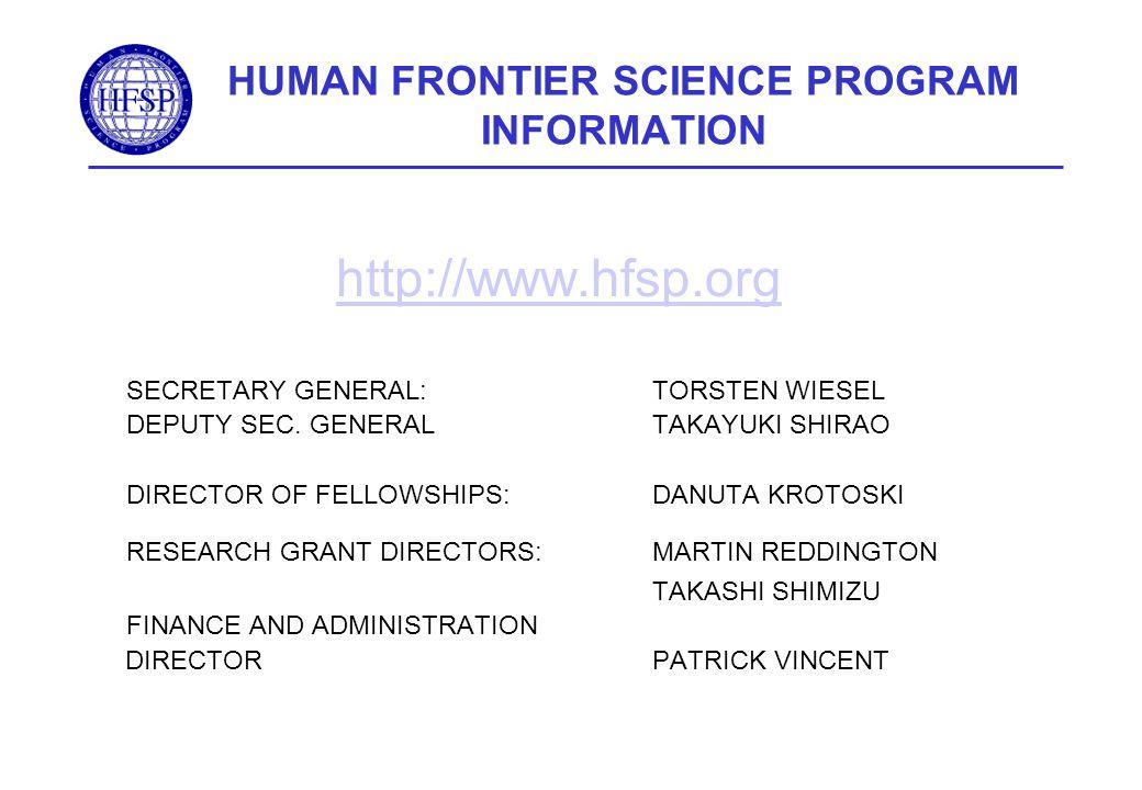 HUMAN FRONTIER SCIENCE PROGRAM INFORMATION http://www.hfsp.org SECRETARY GENERAL:TORSTEN WIESEL DEPUTY SEC. GENERALTAKAYUKI SHIRAO DIRECTOR OF FELLOWS