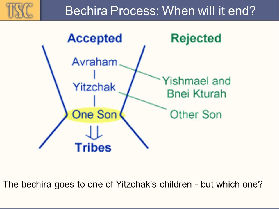 Divine Reassurance Yaakov may doubt that he is chosen:  Yitzchak planned to give the primary bracha to Esav  His parents sent him away from Eretz Canaan  When Yitzchak's brothers were rejected, they were sent to the east: Now Yaakov himself is being sent to the east:  Bechira must come from God, not father Bechira Process: When will it end?