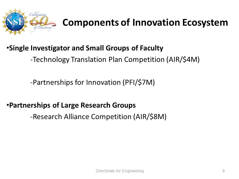 Components of Innovation Ecosystem 6Directorate for Engineering Single Investigator and Small Groups of Faculty -Technology Translation Plan Competition (AIR/$4M) -Partnerships for Innovation (PFI/$7M) Partnerships of Large Research Groups -Research Alliance Competition (AIR/$8M)