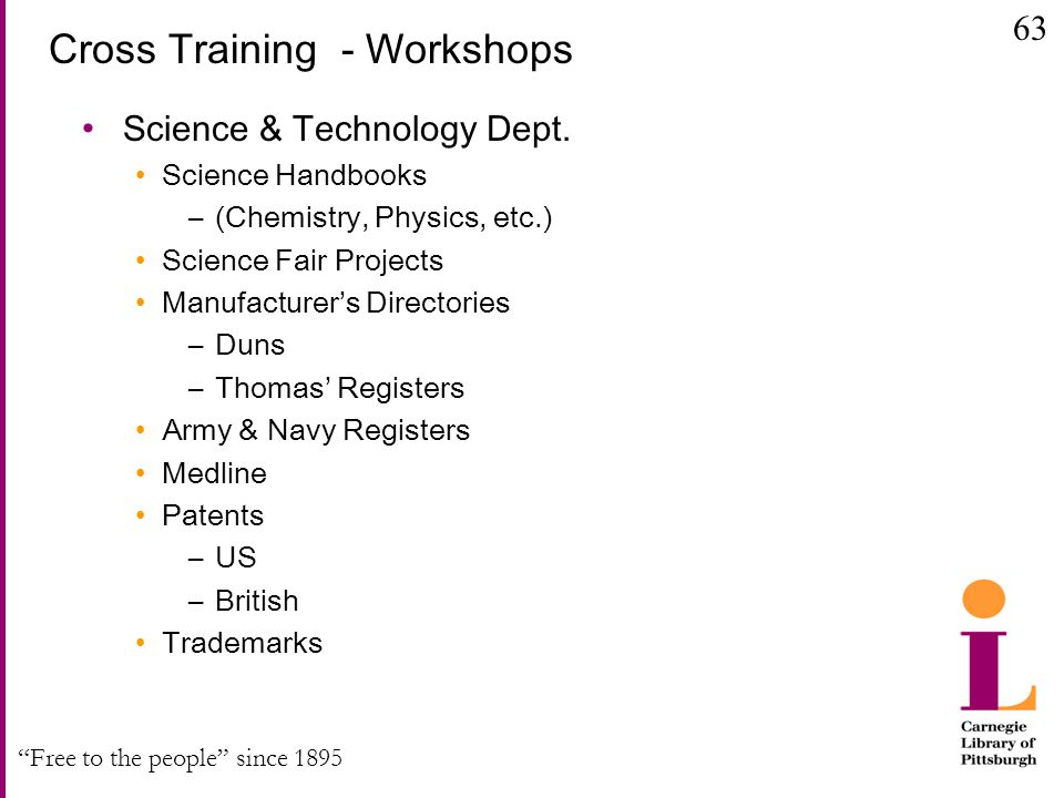 """Free to the people"" since 1895 Cross Training - Workshops Science & Technology Dept. Science Handbooks –(Chemistry, Physics, etc.) Science Fair Proje"