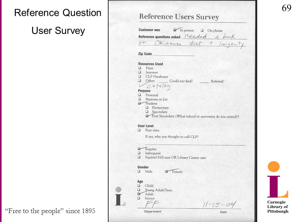 Free to the people since 1895 Reference Question User Survey 69