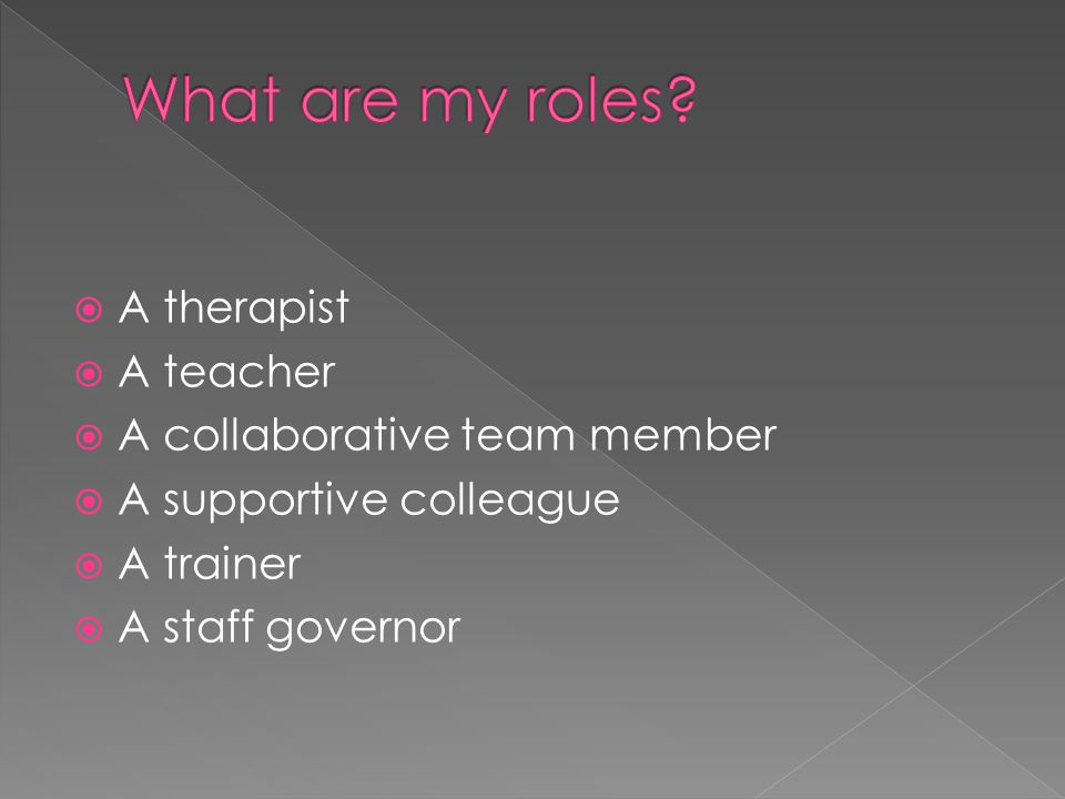  A therapist  A teacher  A collaborative team member  A supportive colleague  A trainer  A staff governor