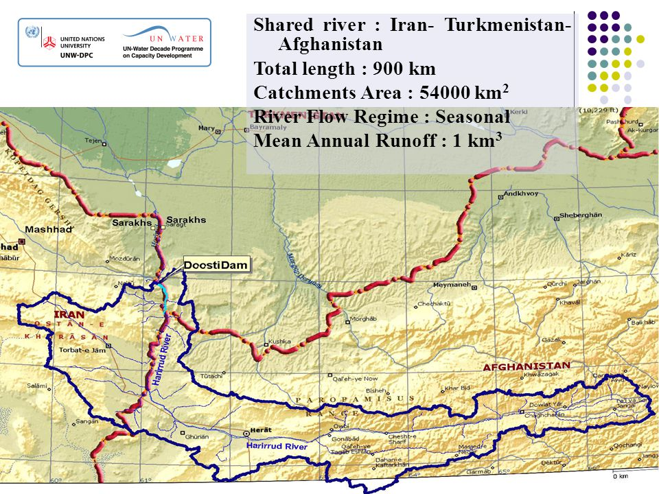 Shared river : Iran- Turkmenistan- Afghanistan Total length : 900 km Catchments Area : 54000 km 2 River Flow Regime : Seasonal Mean Annual Runoff : 1
