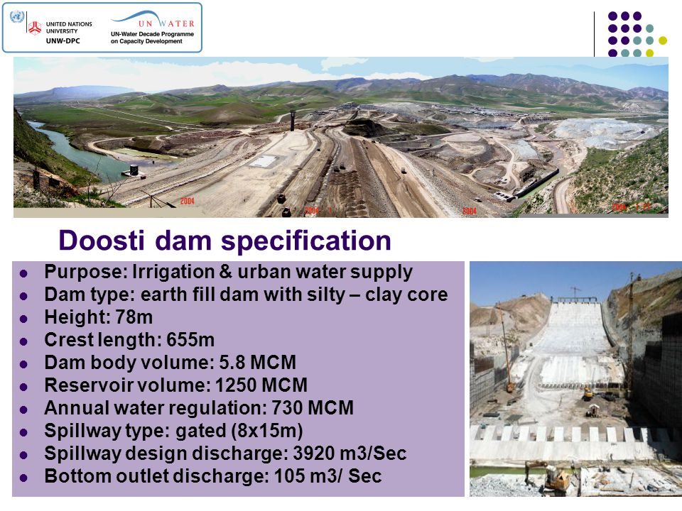 Doosti dam specification Purpose: Irrigation & urban water supply Dam type: earth fill dam with silty – clay core Height: 78m Crest length: 655m Dam b