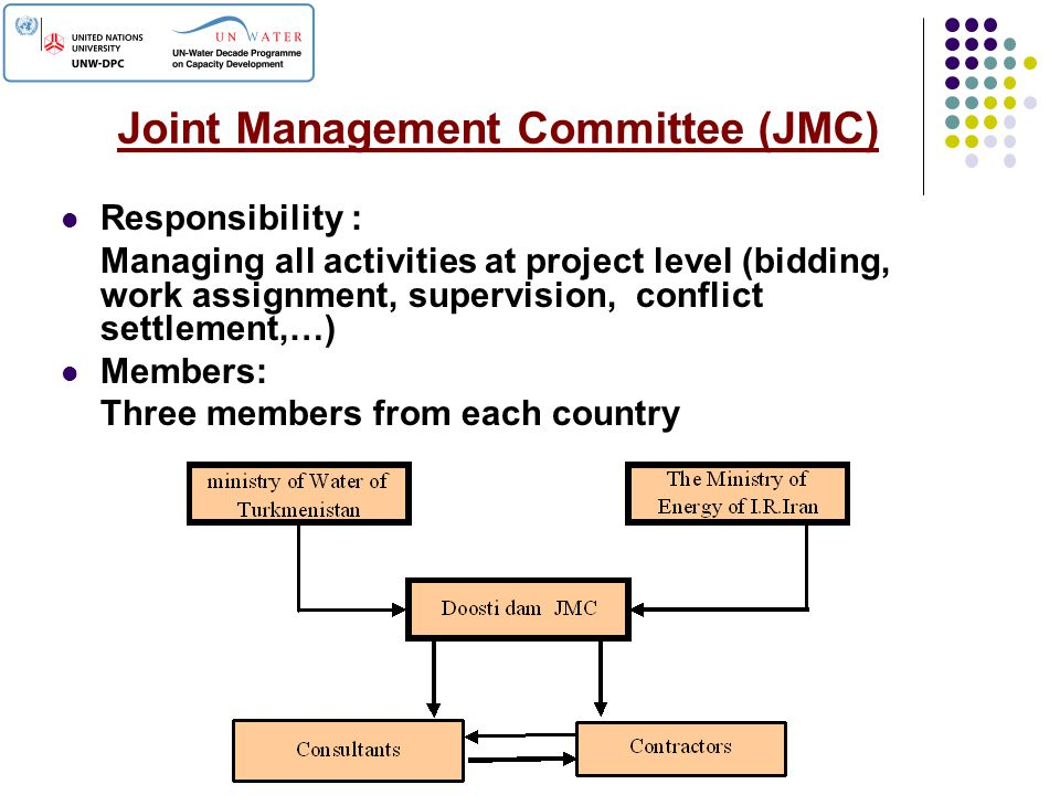 Joint Management Committee (JMC) Responsibility : Managing all activities at project level (bidding, work assignment, supervision, conflict settlement