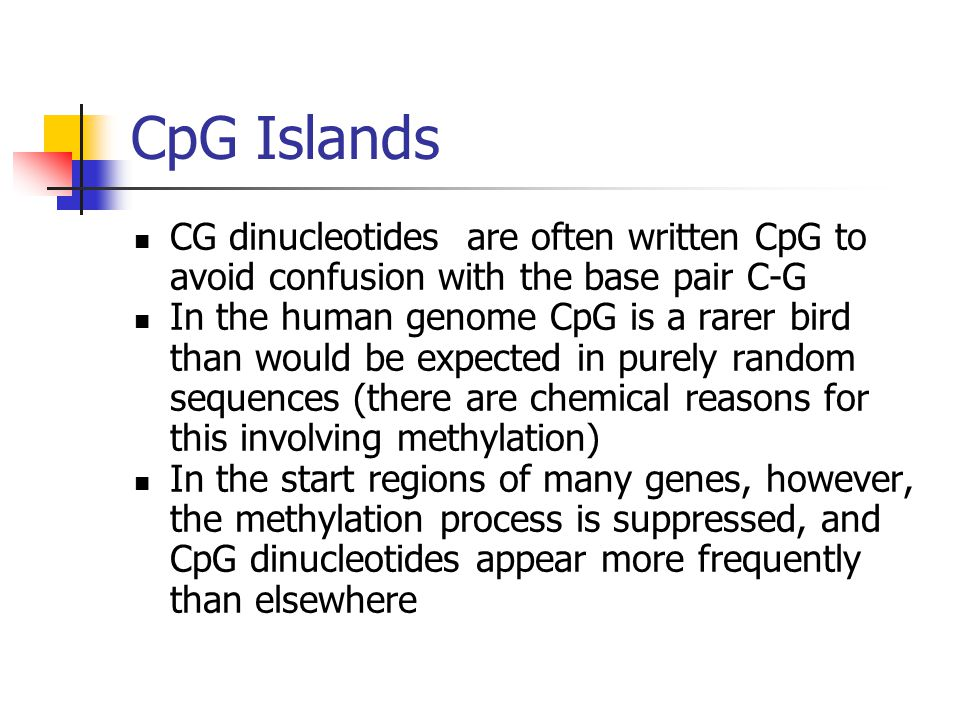 CpG Islands CG dinucleotides are often written CpG to avoid confusion with the base pair C-G In the human genome CpG is a rarer bird than would be exp