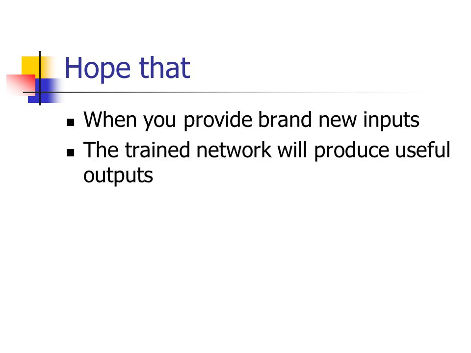 Hope that When you provide brand new inputs The trained network will produce useful outputs