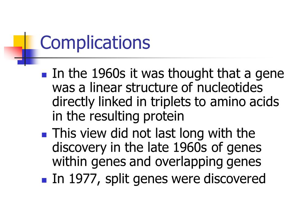 Complications In the 1960s it was thought that a gene was a linear structure of nucleotides directly linked in triplets to amino acids in the resultin