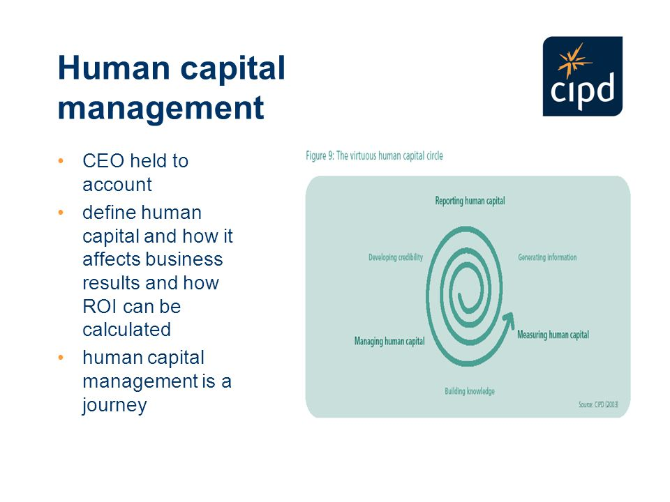 Human capital management CEO held to account define human capital and how it affects business results and how ROI can be calculated human capital management is a journey